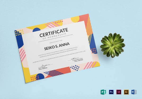 easy to edit membership certificate template