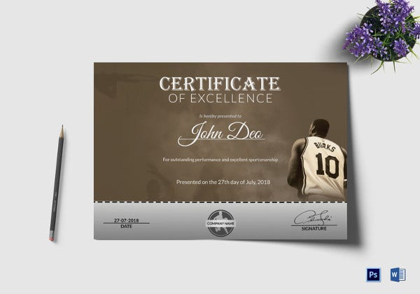 Sample certificate templates 22 free word pdf documents editable basketball award certificate template yelopaper Gallery