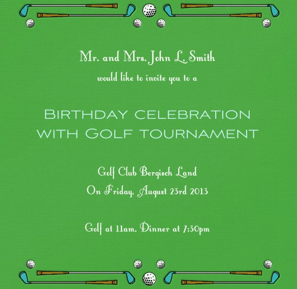 editable golf invitation desing template