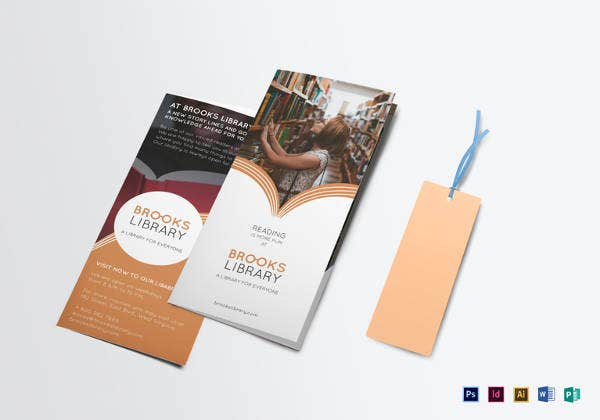editable library brochure