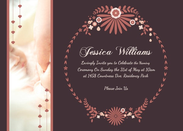 Editable Prosperous Baby Naming Ceremony Invitation Template