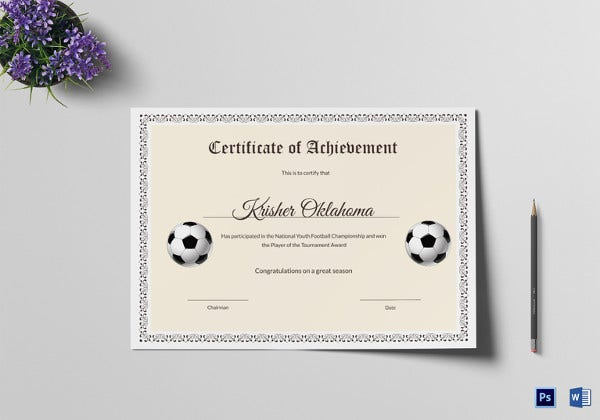editable youth football certificate template