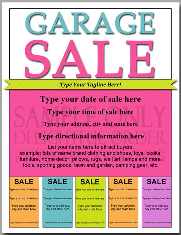 editable and printable garage sale flyer pdf