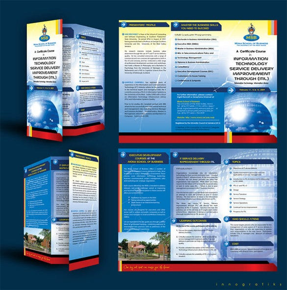 11 useful course brochure templates free premium for Education brochure templates