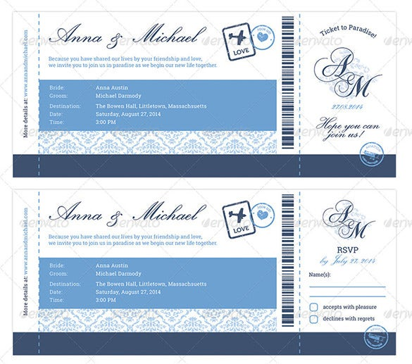 elegant boarding pass wedding invitation download