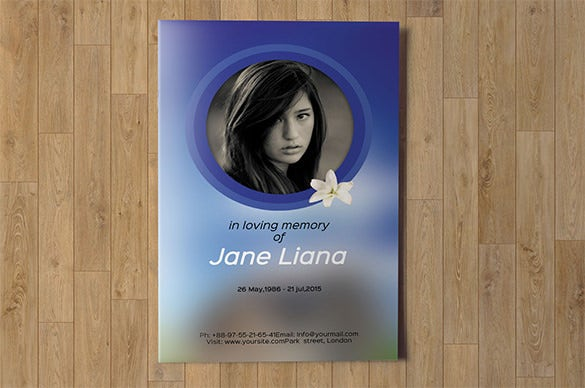 elegant funeral program event brochure template