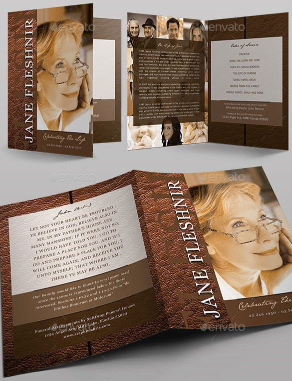 elegant leather funeral program design