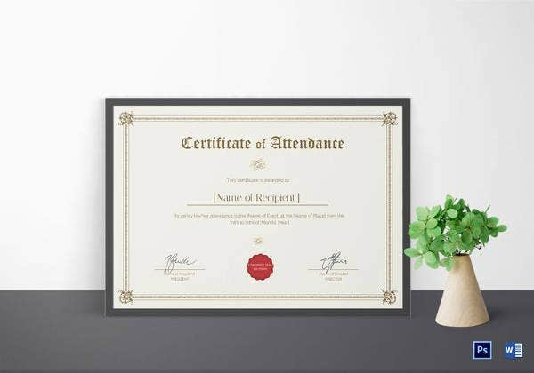 20+ Attendance Certificate Templates - DOC, PDF, PSD | Free ...
