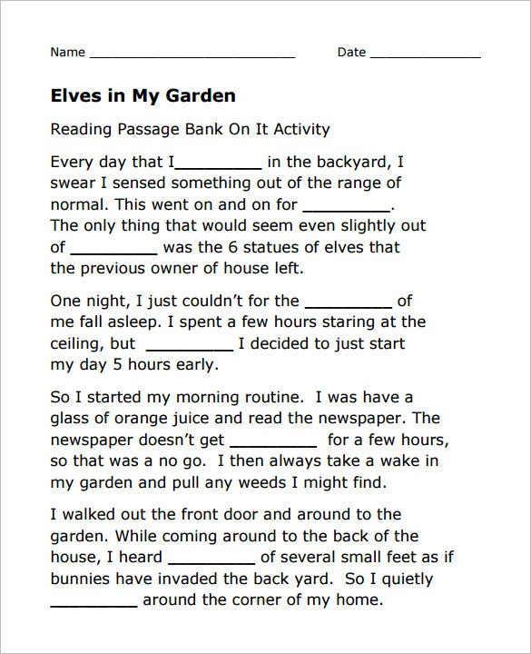 elves in my garden vocabulary worksheet