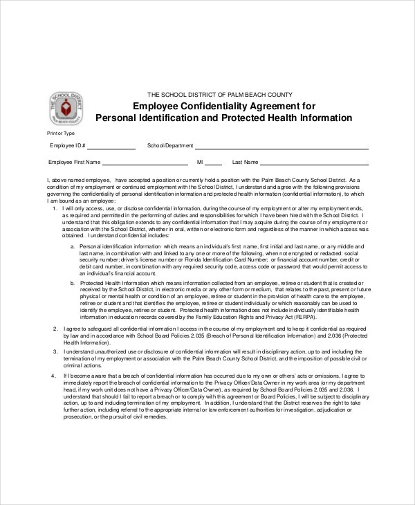 employee confidentiality agreement for personal identification2