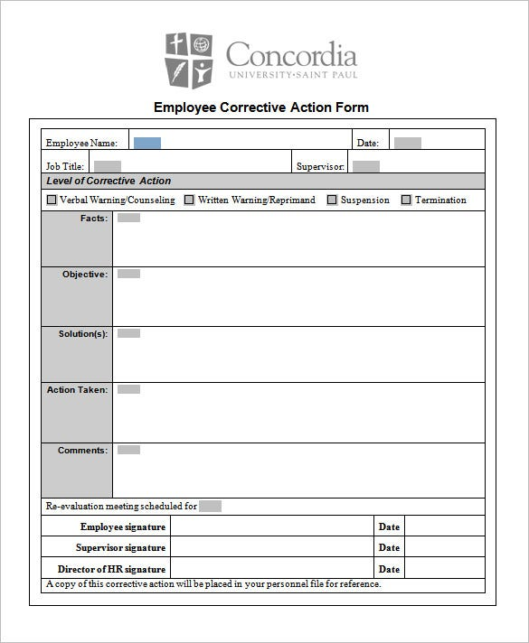 Employee Corrective Action Form Template  Action Plan Format