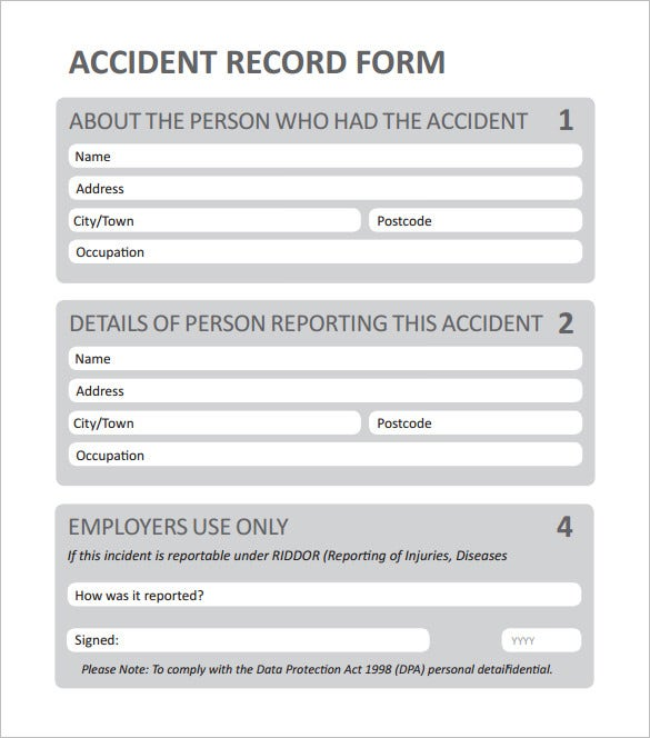 first aid incident report example