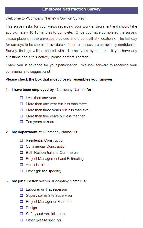 template of a questionnaire - 9 employee satisfaction survey templates samples doc
