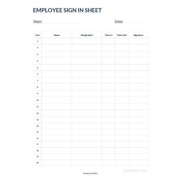 numbered sign in sheet