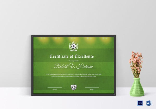 engineering football certificate of excellence template