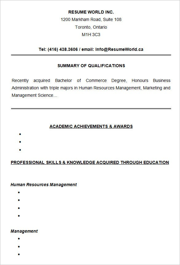 Entry Level Resume Samples For College Students