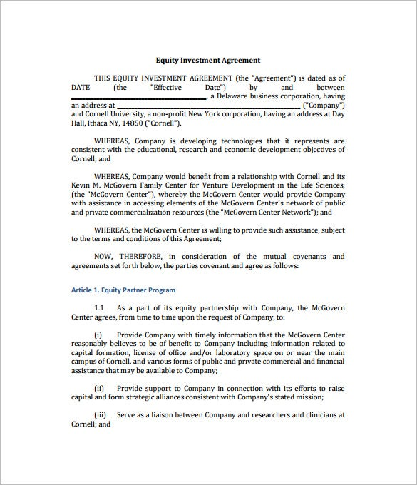 Equity Investment Agreement Template  Private Agreement Template