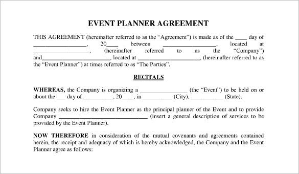 event planner contract agreement form