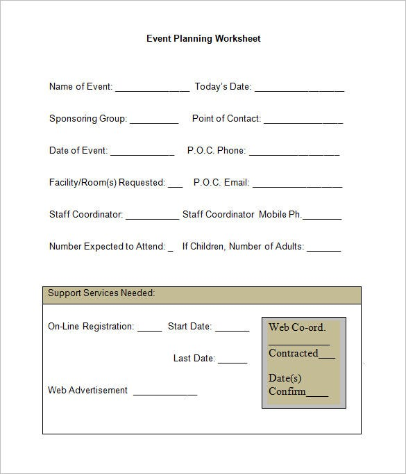 5 Event Planning Worksheet Templates Free Word Documents – Event Planning Worksheet