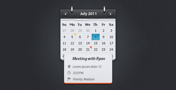 event preview psd calendar template