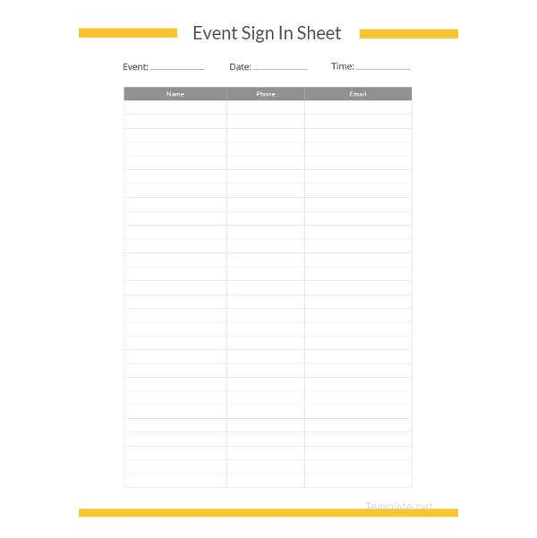 event sign in sheet template