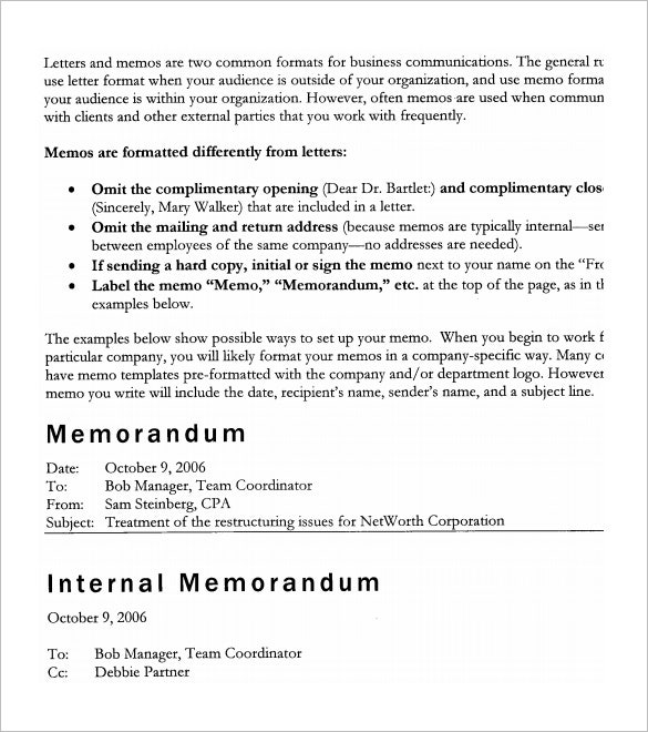 example accounting memo format
