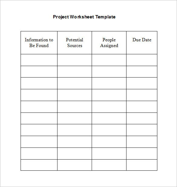 example blank project worksheet template