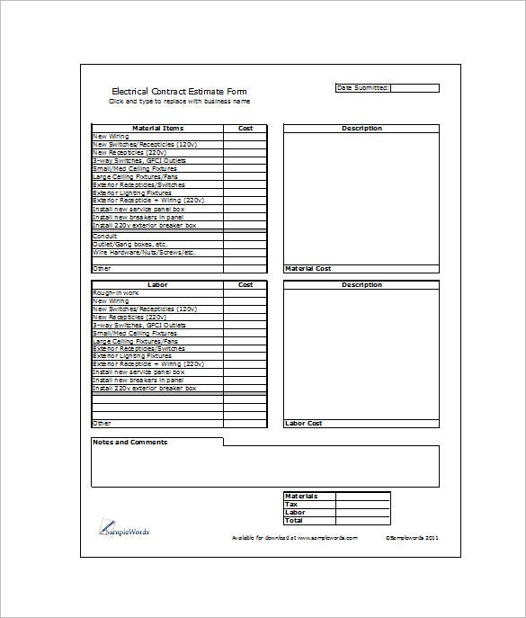 example electrical contract sheet template download