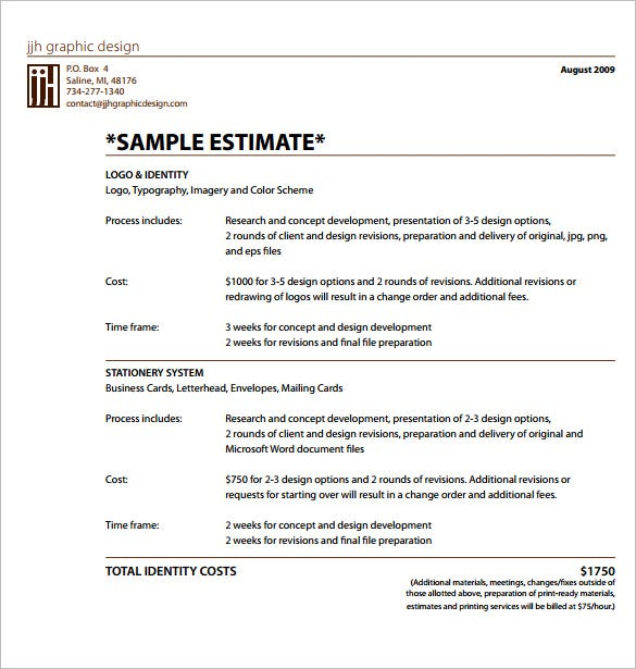 10 sample estimate templates free word excel pdf documents