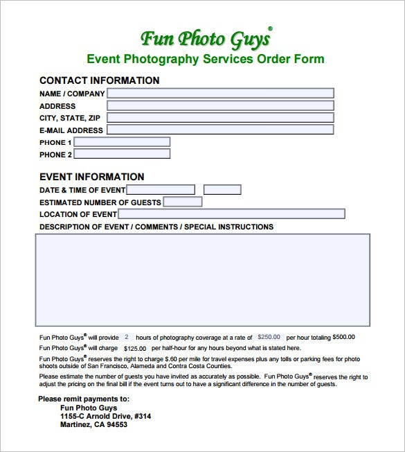 Photography contract template 10 free word pdf for Event booking form template word