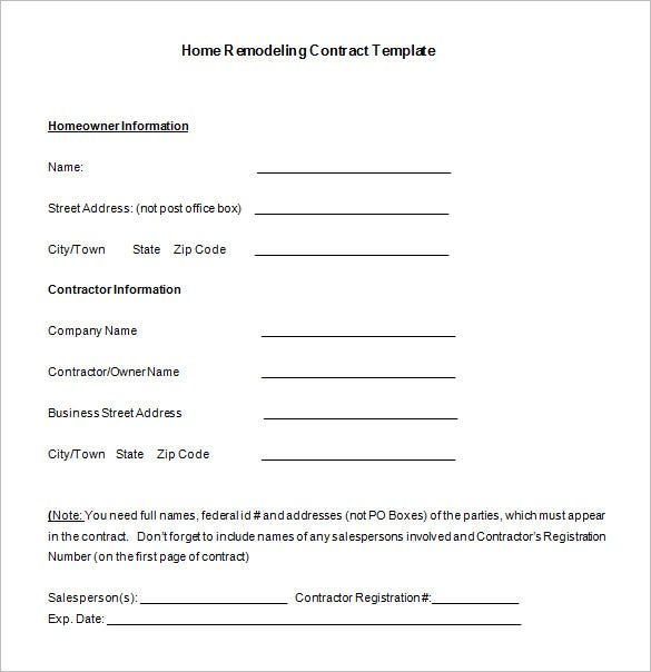 Home remodeling contract template 7 free word pdf for Builder contract for new home