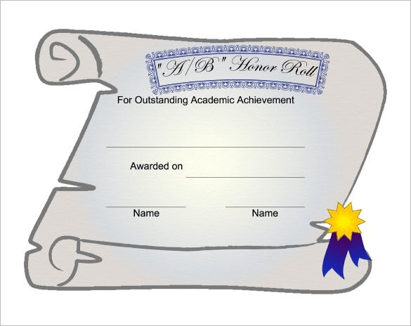 example honor roll certificate template download