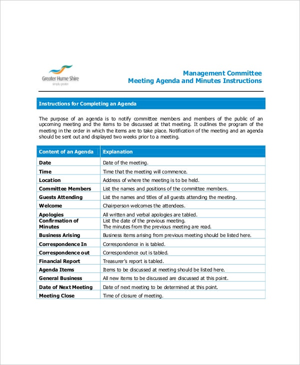 example management committee meeting agenda1
