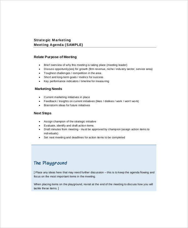 example marketing strategy meeting agenda template1