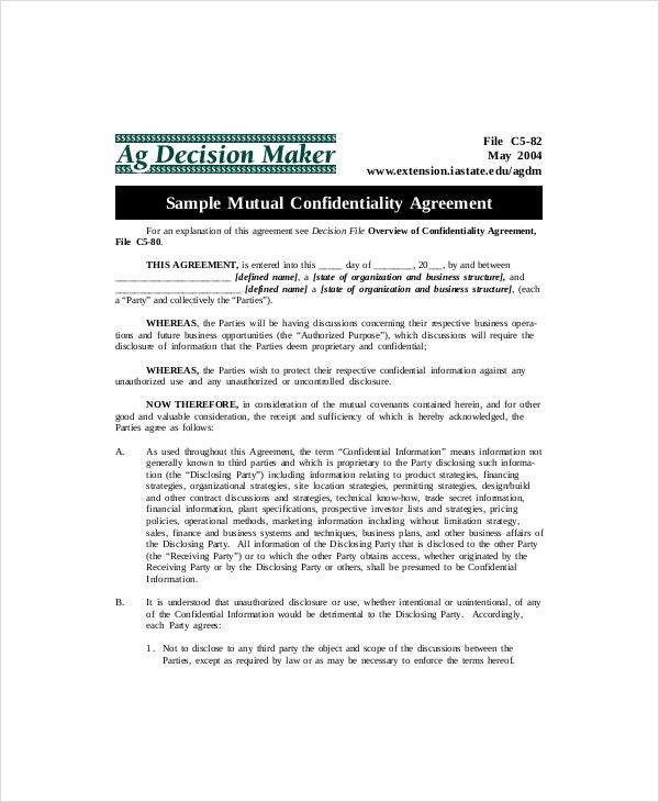 Mutual Confidentiality Agreement Templates  Free Sample