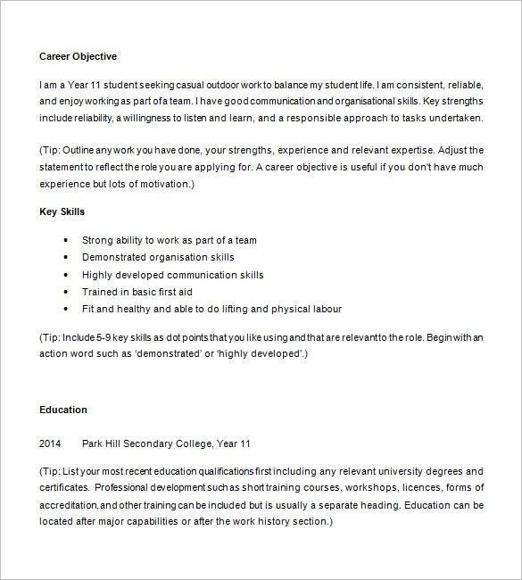 Example Of High School Student Resume Intended Resume Outline For High School Students