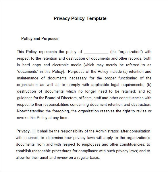 example privacy policy template download