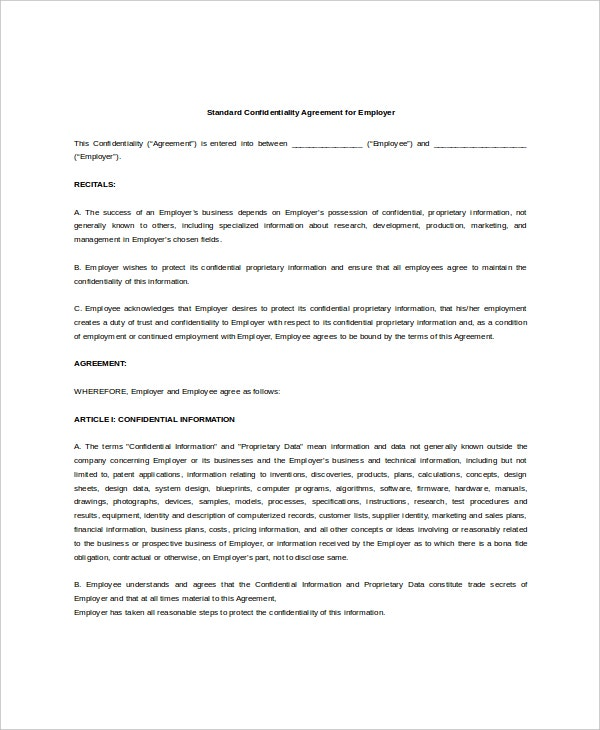 example standard confidentiality agreement for employer1