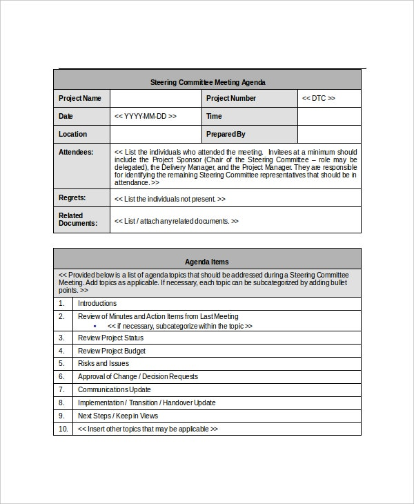 15  committee meeting agenda templates  u2013 free sample  example format download