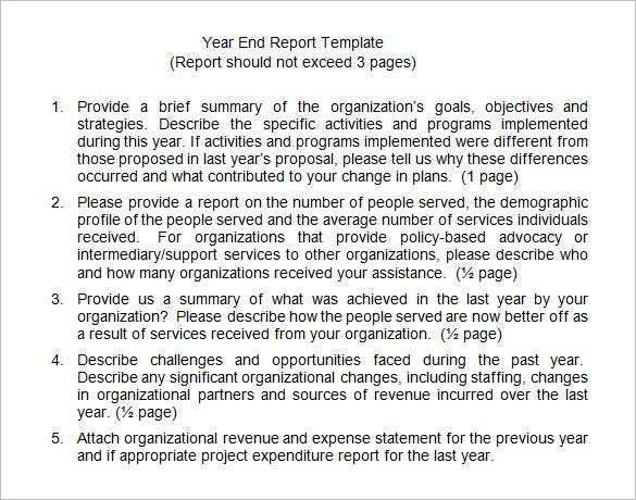 8+ End Of Year Report Templates – Free Sample, Example, Format