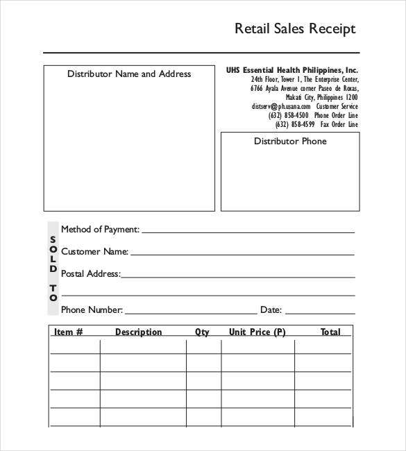 Sales Receipt Template 22 Free Word Excel PDF Format – Sales Receipt Template