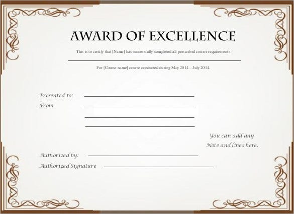 certificate of excellence template free - 28 images - certificate of ...