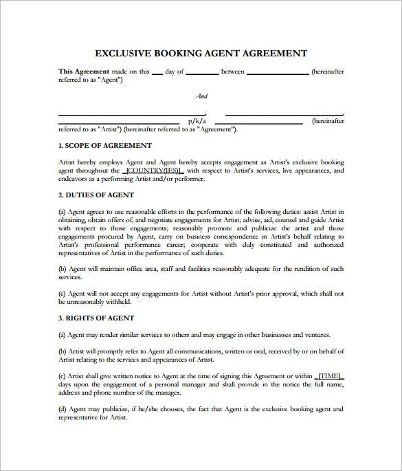 10 Booking Agent Contract Templates Free Word Pdf Documents