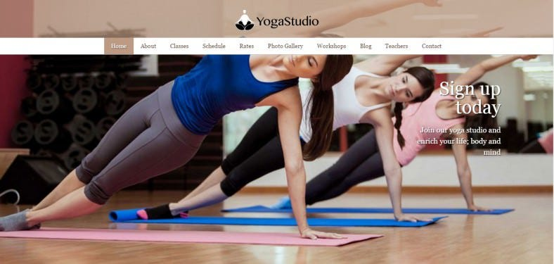 Eye-catching Full Page Slider Yoga Studio Wp ThemeS