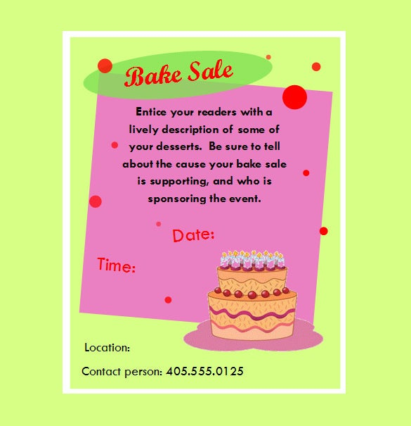 Fabulous Bake Sale Flyer Template  Free Printable Flyer Templates