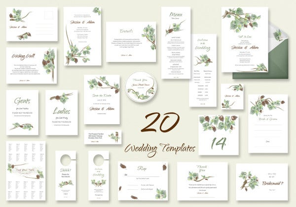 fall wedding templates includes 20 designs