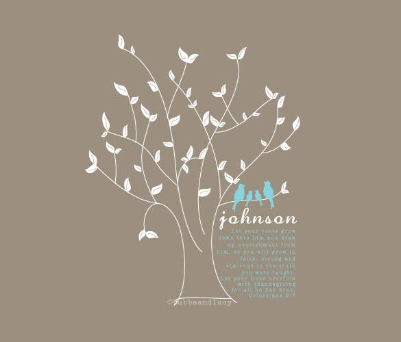 family tree print set with family name for 14