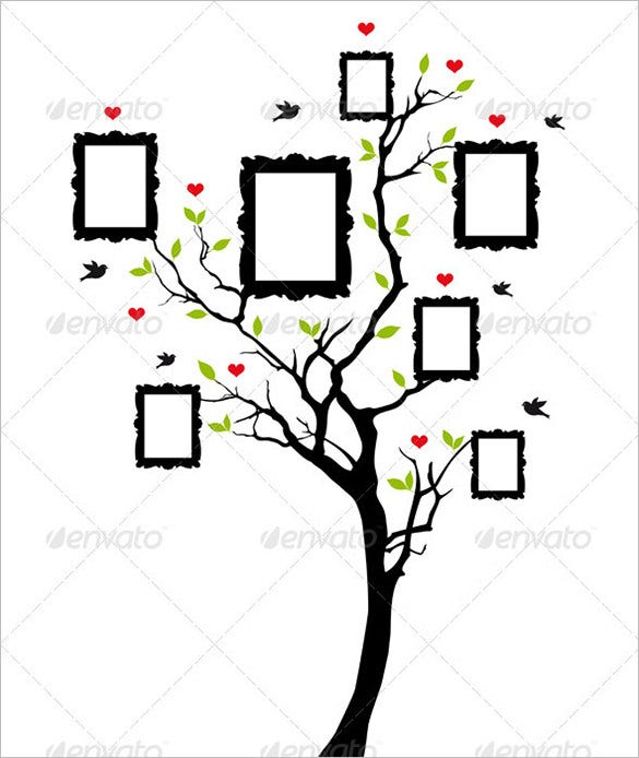 family tree with vintage frames 4