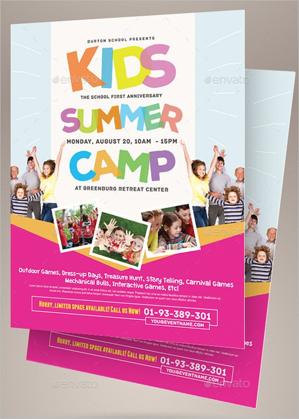 Summer Camp Flyer Templates Free JPG PSD ESI InDesign - Summer camp brochure template