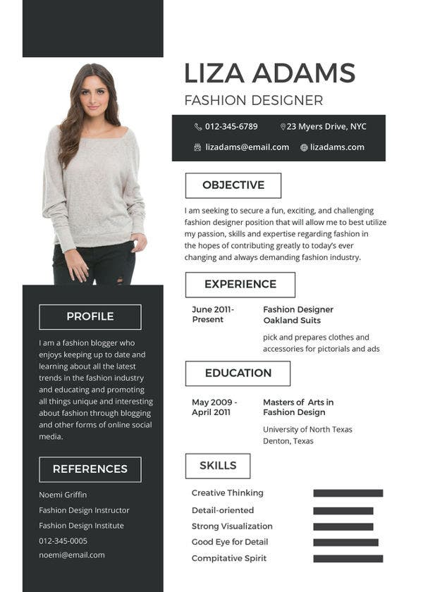 fashion designer resume template - Unique Resume Templates